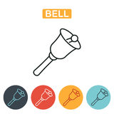 Ringing bell vector line icon isolated on white background. Bell icon. School bell line icon isolated on white background. Education icon for web and graphic Stock Photo
