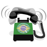 Ringing black stationary phone with rotary dial and flag of Brazil Royalty Free Stock Photos