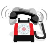 Ringing black stationary phone with flag of Canada. Ringing black stationary phone with rotary dial and with flag of Canada. Vector illustration Stock Photography