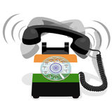 Ringing black stationary phone with rotary dial and with flag of India. Vector illustration Stock Photos