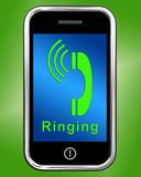 Ringing Icon On Mobile Phone Shows Smartphone Call Royalty Free Stock Images
