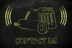 Ringing office phone illustration, customer service Stock Photo