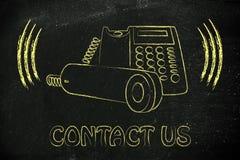 Ringing office phone illustration, customer service Stock Photo