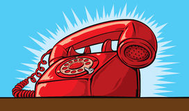 Ringing Phone. Old red phone ringing off the hook Royalty Free Stock Images