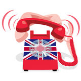 Ringing red stationary phone with flag of UK. Ringing red stationary phone with rotary dial and flag of United Kingdom. Vector illustration Stock Image