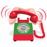 Ringing red stationary phone with rotary dial and flag of Brazil. Vector illustration Stock Photo