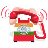 Ringing red stationary phone with rotary dial and with flag of India. Vector illustration Royalty Free Stock Photos