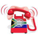 Ringing red stationary phone with rotary dial and flag of Republic of South Africa. Ringing red stationary phone with flag of Republic of South Africa. Vector Royalty Free Stock Photo