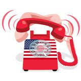 Ringing red stationary phone with rotary dial and flag of USA Royalty Free Stock Image