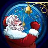 The ringing Santa Claus. Illustration of Santa Claus who rings a door hand bell against clock five minutes before Christmas royalty free illustration