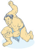 Ringkämpferkerl, der seine Faust zusammenpreßt Lizenzfreies Stockfoto