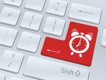Ringklockabegrepp på knappen av det vita datortangentbordet Royaltyfri Foto