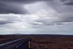 Ringleden i en regna dag iceland Royaltyfria Foton