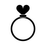 Ringliebesherz-Hochzeitssymbol des Schattenbildes Romanze stock abbildung
