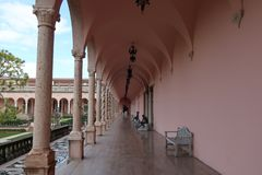 Ringling museum historic building and plants. stock photo