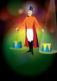 Ringmaster on the arena. Bright image of ringmaster. Good for poster, invitation card concept Royalty Free Stock Photos