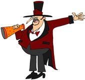 Ringmaster. This illustration depicts a circus ringmaster talking into a megaphone and gesturing with his hand Royalty Free Stock Image