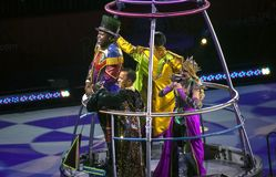 Ringmaster and performers at Ringling Bros Circus at Barclays Br. BROOKLYN, NEW YORK - FEBRUARY 25: Ringmaster and performers during Ringling Bros Barnum Bailey Stock Photos