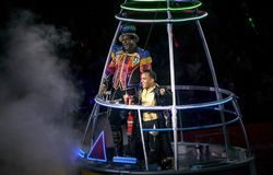 Ringmaster and performers at Ringling Bros Circus at Barclays Br. BROOKLYN, NEW YORK - FEBRUARY 25: Ringmaster and performers during Ringling Bros Barnum Bailey Stock Photo