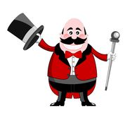 Ringmaster in Tuxedo Holding Hat and Stick  Royalty Free Stock Photo