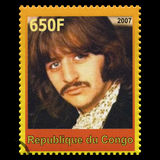 Ringo Starr Beatles Postage Stamp from Congo. REPUBLIQUE DU CONGO - CIRCA 2007: A postage stamp portraying an image of Ringo Starr, one of the Beatles, circa Royalty Free Stock Photo
