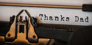 Ringrazia il papà scritto su carta Fotografie Stock