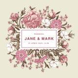 Ringraziamenti di nozze ed illustrazione vittoriana della bella dei fiori dell'invito delle rose delle primaverine di carta della illustrazione di stock