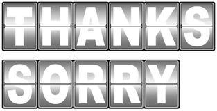 Ringraziamenti & tabellone segnapunti spiacente Immagini Stock Libere da Diritti