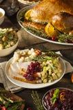 Ringraziamento casalingo Turchia su un piatto Fotografie Stock