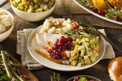 Ringraziamento casalingo Turchia su un piatto Immagine Stock Libera da Diritti