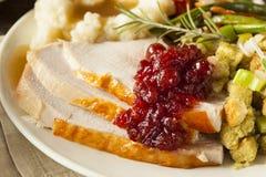 Ringraziamento casalingo Turchia su un piatto Fotografie Stock Libere da Diritti
