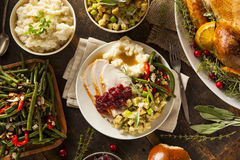Ringraziamento casalingo Turchia su un piatto Immagini Stock Libere da Diritti