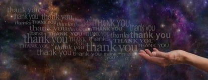 Ringraziamento dell'insegna del sito Web dell'universo Fotografia Stock Libera da Diritti