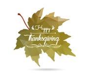 Ringraziamento felice Foglia di acero nello stile triangolare con disegnato a mano Fotografia Stock Libera da Diritti