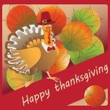 Ringraziamento felice Fondo con le belle foglie di autunno della castagna Fotografia Stock Libera da Diritti