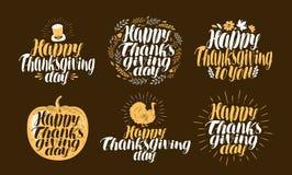 Ringraziamento felice, insieme di etichetta Logo di festa, simbolo Bella iscrizione scritta a mano Fotografia Stock Libera da Diritti