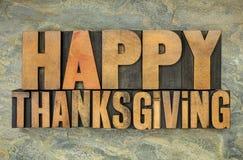 Ringraziamento felice nel tipo di legno Fotografia Stock Libera da Diritti