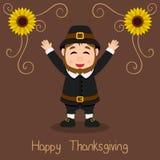 Ringraziamento felice - sorridere dell'uomo del pellegrino Fotografia Stock