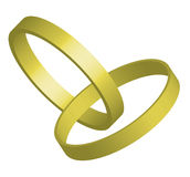 Rings. Vector illustration of two golden rings entwined Stock Photo