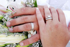 Rings. The wedding rings on the bride and grooms hands royalty free stock photography
