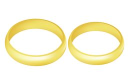 Rings. Illustration of the two golden wedding rings over white background Stock Image