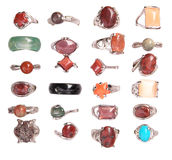 Rings. Collection of rings from the semiprecious stones Royalty Free Stock Images