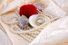 Rings. Wedding rings and srting pearls and shells Royalty Free Stock Images