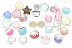 Rings. Set of several rings of jewelry in different types and colors stock photo