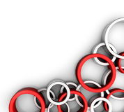 Rings. 3d background of red and steel rings Vector Illustration
