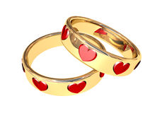 Rings. Golden wedding rings and many red hearts royalty free illustration