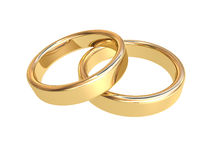 Two golden wedding rings. 3d illustration of two golden wedding rings lying together on white background stock photography