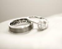 The rings. Engraved wedding rings macro shot Stock Photo