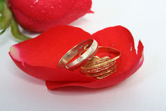 Rings. Wedding rings with rose Stock Photo