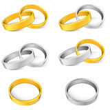Rings. Gold and silver rings illustration vector illustration
